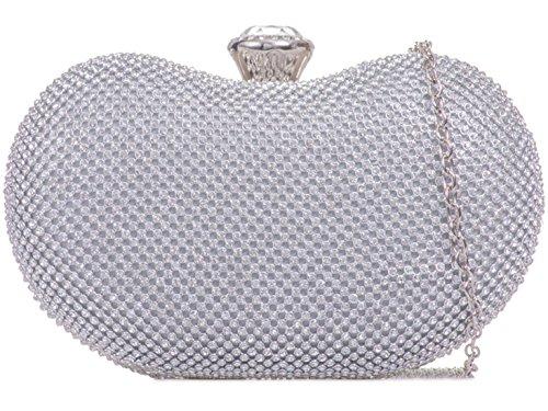 Evening T923 Clutch Diamante Rhinestone Handbags Bag LeahWard Women's Silver Wedding xw8EqE1Y