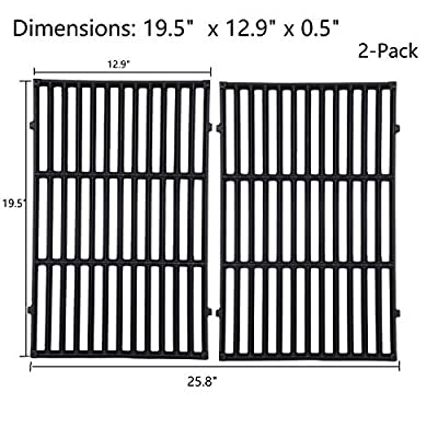 GasSaf 19.5 inch Grill Grates Replacement for Weber 7524,Weber Genesis E-310, E-320, E-330, S-310, S-320, S330, ESP-310, ESP-320 and Others, 2-Pack Cast Iron Cooking Grids Replace for Weber 7524/7528