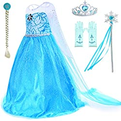Snow Queen Princess Elsa Costumes Birthday Party Dress Up For Little Girls with Wig,Crown,Mace,Gloves Accessories 4T 5T (120cm)
