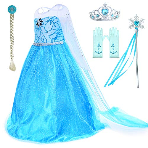 (Snow Queen Princess Elsa Costumes Birthday Party Dress Up for Little Girls with Wig,Crown,Mace,Gloves Accessories 6T 7)