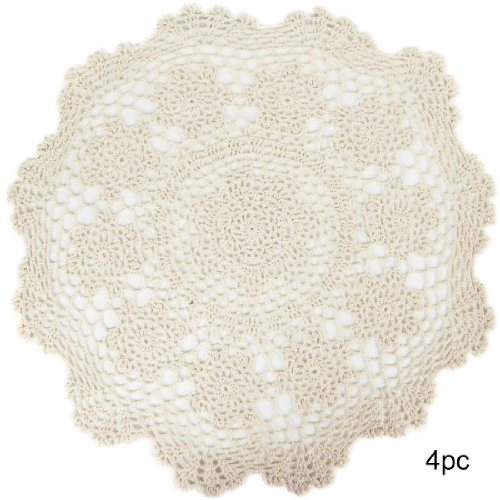 Crochet Placemat (kilofly Crochet Cotton Lace Table Placemats Doilies Value Pack, 4pc, Rosary, Beige, 19.6 inch)
