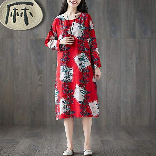 Retro De Bohe Tamaño Loose Lino Impresión Vestido Mujeres Patchwork Vestido Las Print Manga Beikoard Algodón Larga Plue n5A0w4qAZ