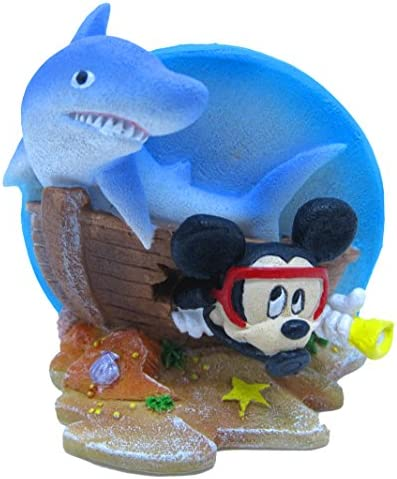 Amazon Com Penn Plax Officially Licensed Classic Disney Aquarium Decorations Mickey Mouse Shipwreck With Shark 3 Ornament Pet Supplies