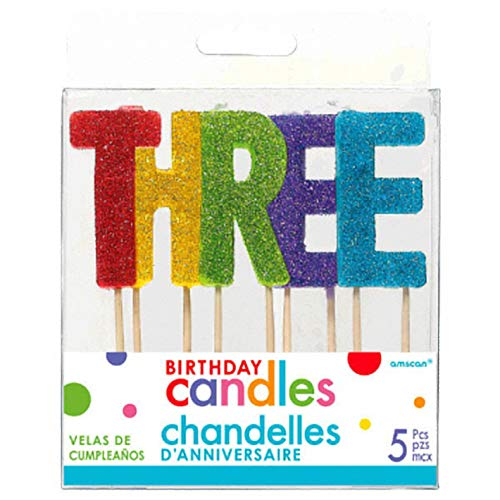 Amscan 170336 30 Ct Party Supply T-H-R-E-E Colorful Glitter Birthday Candle