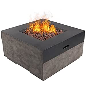 "Dian 34"" Outdoor Patio Gas Fire Pit Modern Contemporary Concrete Propane Metal Countertops Gas Fire Table with Lava Rocks 50,000 BTU Auto Ignition with Safety Push Button – Glacier Ash Gray"