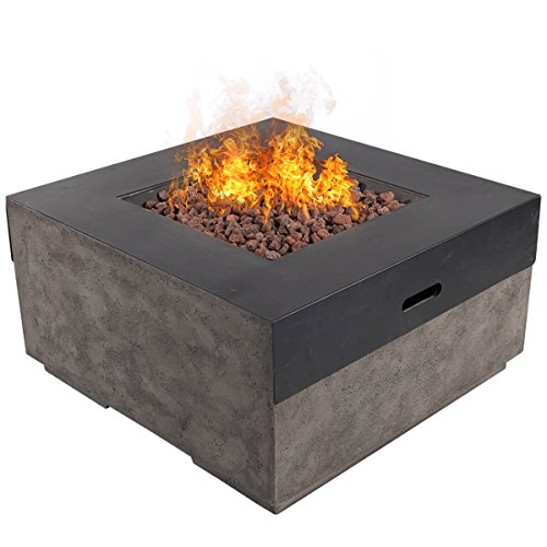 "DIAN 34"" Outdoor Patio Gas Fire Pit Modern Contemporary Concrete Propane Metal Countertops Gas Fire Table with Lava Rocks 50,000 BTU Auto Ignition with Safety Push Button – Glacier Ash Gray HE9996"