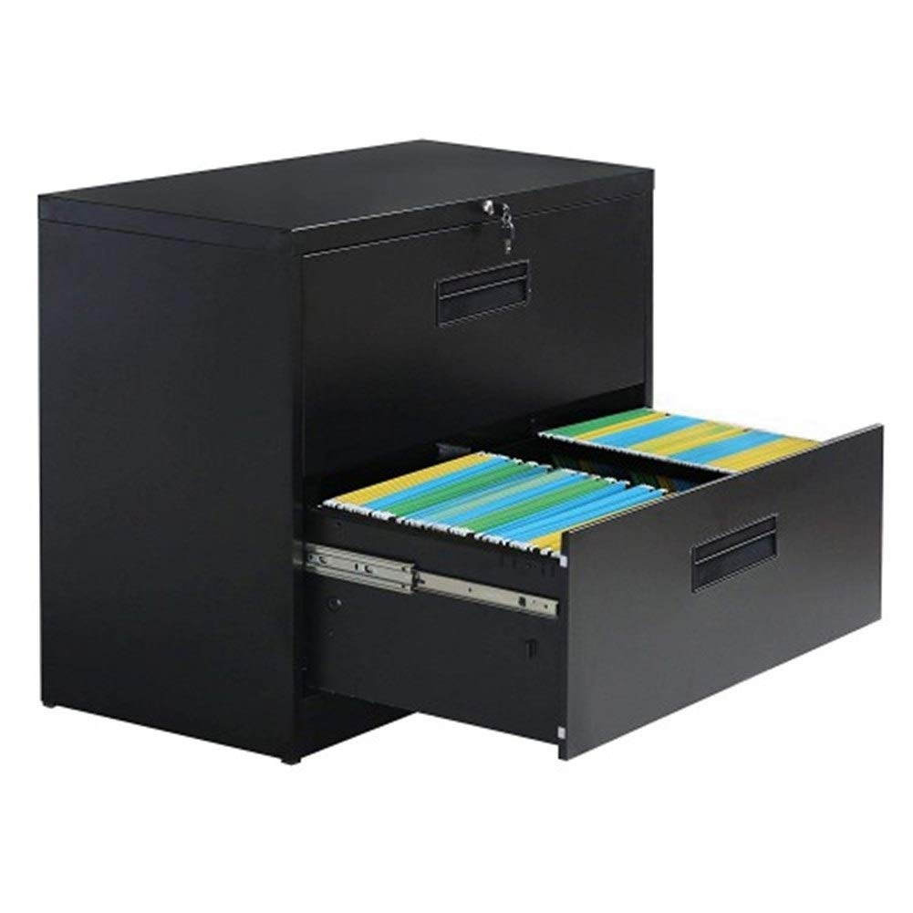 YXHUI Lateral File Cabinet--Anti-tilt Structure/More File Space/Office Lock Design (2 Drawers, Black) Good Mood, Good Life (Color : Black)