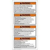 ComplianceSigns Vinyl ANSI WARNING Label, 4 x 2 in. with Boating / Marine / Fishing Info, 4-Pack White