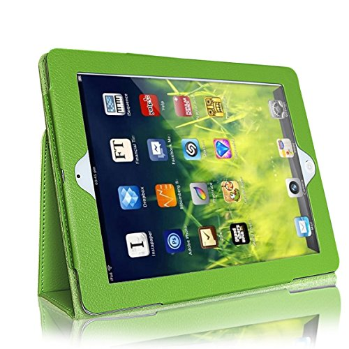 Case for iPad 2 3 4, GARUNK Litchi Pattern Leather Stand Case Cover for Apple iPad 2/3/4 iPad 2nd 3rd 4th Genernation 9.7 inch (Green)