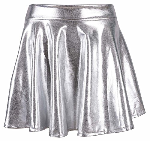 Women's Liquid Metallic Skirt Wet Look Flared Skater Skirt Dress, Silver (Cotton Metallic Skirt)