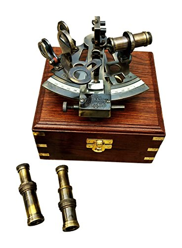 A S Handicrafts Vintage Kelvin & Hughes Brass Sextant Antique Reproduction Navigational Instrument Decorative Collectible Astrolabe Sextant w Two Telescope w Wooden Box from A S Handicrafts