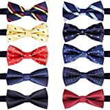10 Pcs Elegant Pre-tied Bow ties Formal Tuxedo Bowtie Set with Adjustable Neck Band,Gift Idea For Men And Boys (10Pcs4)