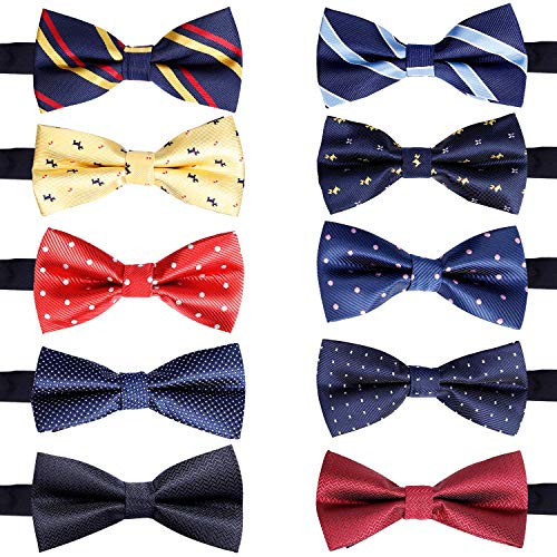 10 Pcs Elegant Pre-tied Bow ties Formal Tuxedo Bowtie Set with Adjustable Neck Band,Gift Idea For Men And Boys (10Pcs4)]()