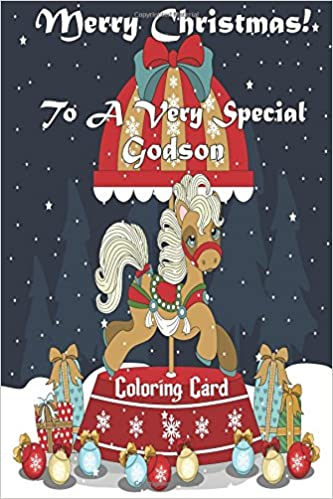Merry Christmas Animals.Merry Christmas To A Very Special Godson Coloring Card Holiday