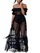 XAKALAKA Women's Sexy Lace Off Shoulder High Wasit Flared Mesh Club Maxi Dress S-XXXL