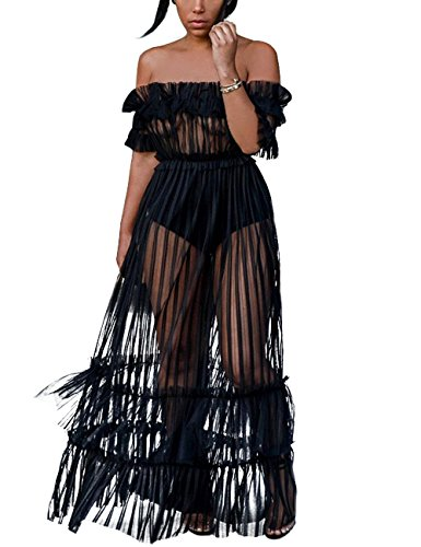 XAKALAKA Women's Sexy Lace Off Shoulder High Wasit Flared Mesh Club Maxi Dress Beach Cover Up Black S