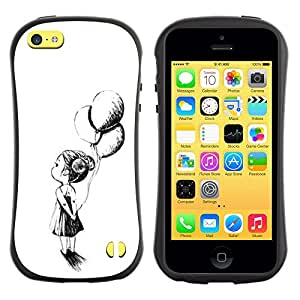 Paccase / Suave TPU GEL Caso Carcasa de Protección Funda para - Girl Mother White Black Ink - Apple Iphone 5C