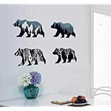 BIBITIME Snow Mountain Forest Tree Polar Bear Silhouette Sticker Animal Wall Decal for Living Room Porch Children Bedroom Study Classroom Nursery Kids Room Decor