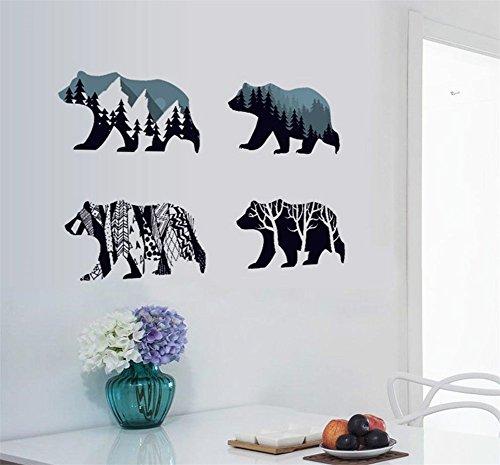 (BIBITIME Snow Mountain Forest Tree Polar Bear Silhouette Sticker Animal Wall Decal for Living Room Porch Children Bedroom Study Classroom Nursery Kids Room Decor)