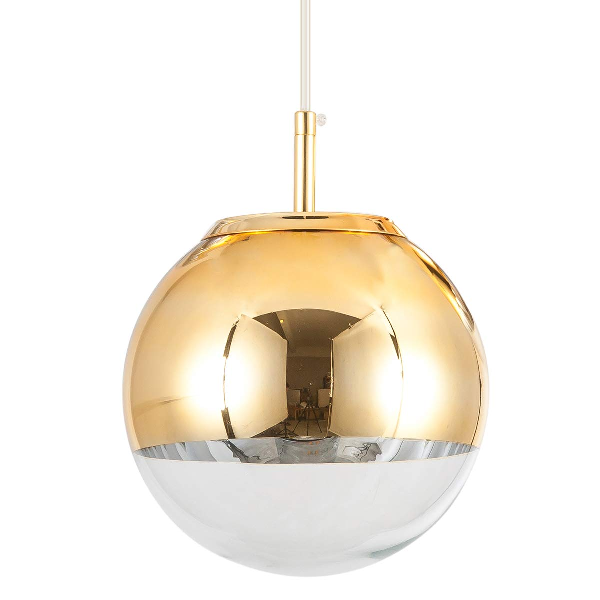Modern Mini Globe Pendant Lighting with Handblown Clear Glass, Adjustable Mirror Ball Pendant Lamp for Living Room Kitchen Island Hallways Restaurants Bar Cafe, Polished Golden Finish, 10 inches