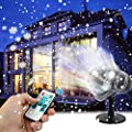 Christmas Snowflake Projector Lights, Enkman Rotating LED Snowfall Projection Lamp with Remote Control, Outdoor Waterproof Sparkling Landscape Decorative Lighting for Holiday Halloween Xmas Party