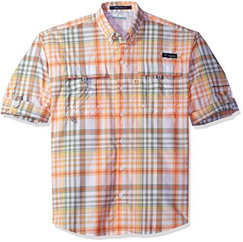 Columbia Men's Super Bahama Long Sleeve Shirt, Bright Peach Multi Check, - Check Shirt Bright