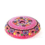 Eyes of India - 24'' Pink Embroidered Decorative Floor Seating Meditation Pillow Cushion Throw Cover Bohemian Boho Indian