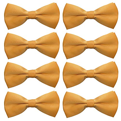 - AVANTMEN Men's Bowtie 8 Pack Classic Pre-Tied Satin Formal Tuxedo Bow Tie Adjustable Length Large Variety Colors Available (Gold)