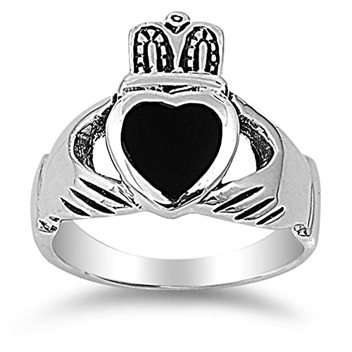 Simulated Black Onyx Unique Polished Claddagh Ring New 925 Sterling Silver Band Size 12