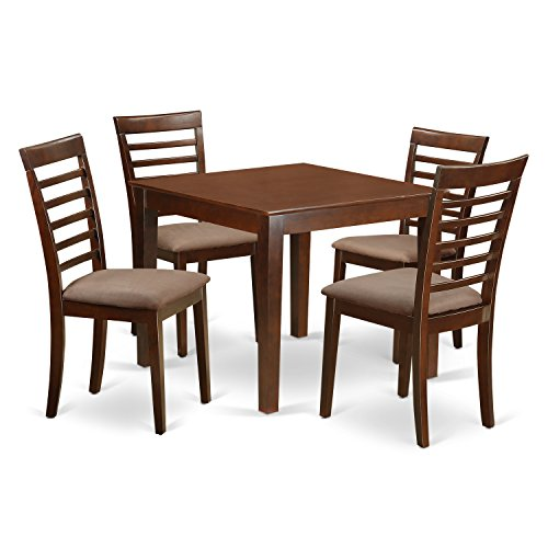 East West Furniture OXML5-MAH-C 5Piece Dinette Table Set with One Oxford Dining Table & Four Dining Chairs in Mahogany Finish