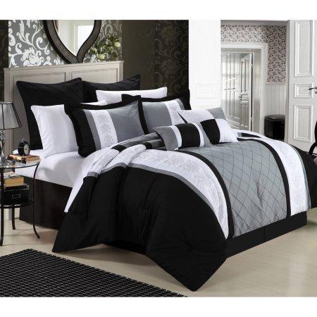 Price comparison product image King Size Arlington 12-Piece Bed in a Bag Bedding Comforter Set,  Black