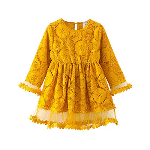 VEFSU Fashion Toddler Kids Baby Girls Flower Lace Tulle Party Wedding Pageant Princess Seven-Point Sleeve Dress Yellow 130cm