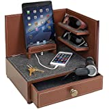 """G.U.S. """"Rustic Modern"""" Corner Multi-Device Charging and Sunglass Station with Drawer"""