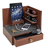 """G.U.S. """"Rustic Modern"""" Corner Multi-Device Charging and Sunglass Station Dock Valet with Drawer"""