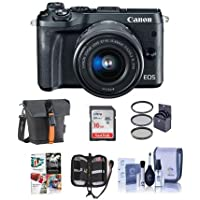 Canon EOS M6 Mirrorless Digital Camera Black Kit with EF-M 15-45mm f/3.5-6.3 IS STM Lens - Bundle With Holster Case, 16GB SDHC Card, Memory Wallet, Cleaning Kit, 49mm Filter Kit, Software Package