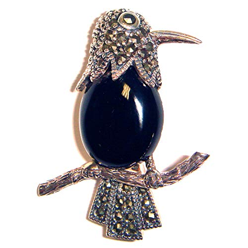 Onyx Bird Parrot PIN/Brooch Black Onyx Stone & Marcasite .925 Sterling Silver ВК-126