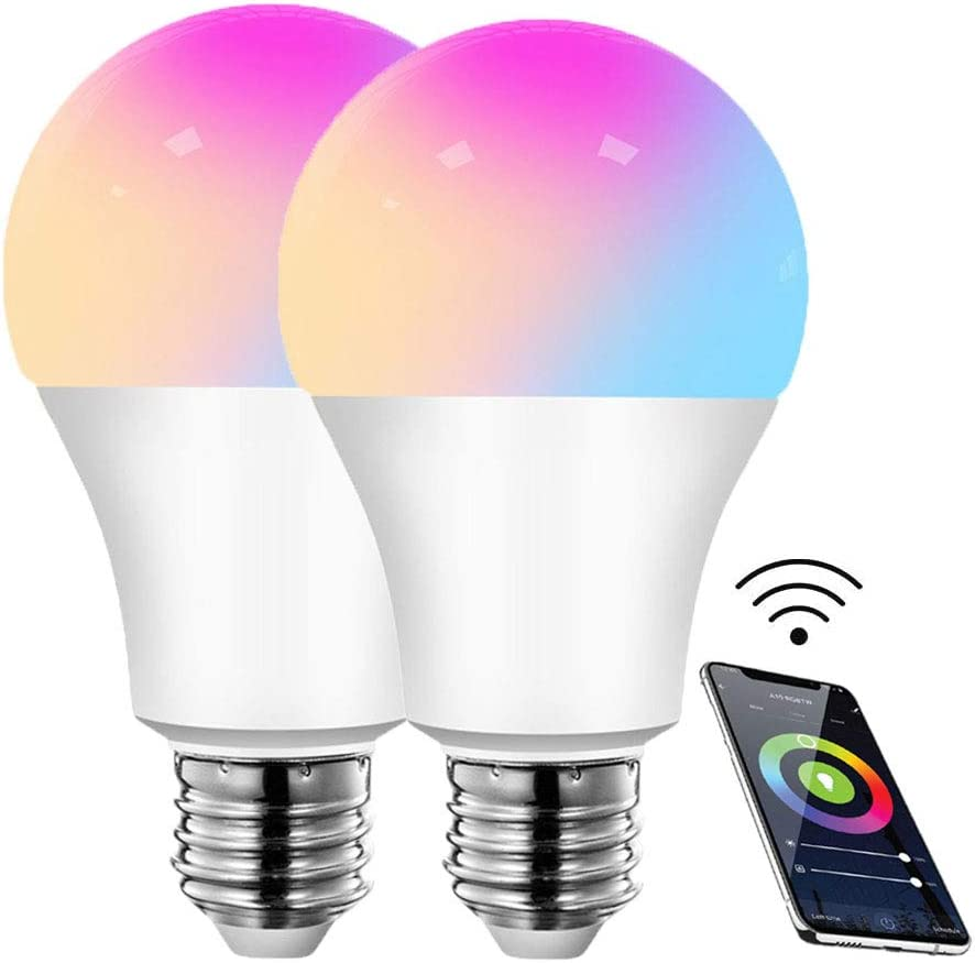 SILENTCARE Color Changing Light Bulb,Smart WiFi Light Bulb Compatible with Alexa & Google Home Assistant,A19,E26,9W (80W Equivalent) Dimmable RGBCW Color Changing LED Bulbs for Siri (2 Pack)