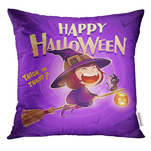 Golee Throw Pillow Cover Happy Halloween Flying Little Witch Girl Kid in Costume Flies with Black Cat and Pumpkin Lantern Retro Decorative Pillow Case Home Decor Square 18x18 Inches -