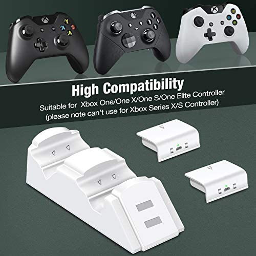 Controller Charger for Xbox one, Controller Charging Station Compatible with Xbox One/X/S/Elite, Dual Charging Dock with 2 x 1200mAh Rechargeable Battery Packs-(Not Applicable for Xbox Series X/S)