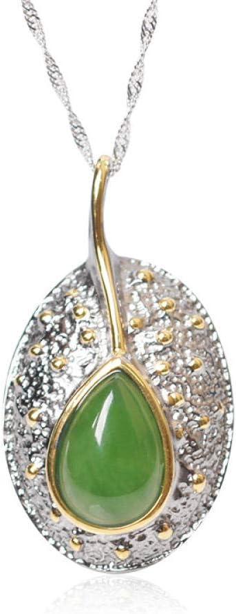 SanQ-Seven Collar de Estilo Vintage 925 Hetian Biyu Colgante con Forma de Hoja Collar con Incrustaciones de Jade Verde