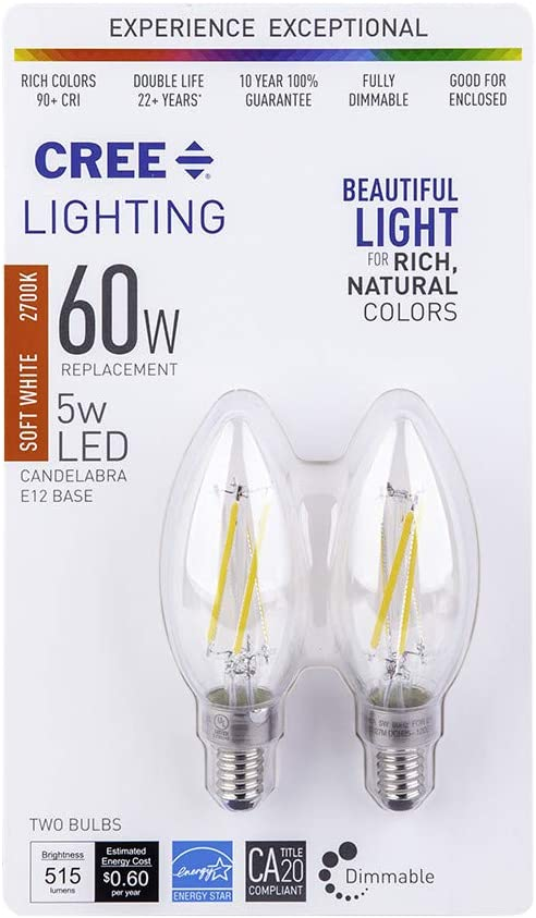 Dimmable Cree Lighting B11 Clear Glass Filament Candelabra 60W Equivalent LED Bulb 25,000 Hour Rated Life 500 lumens Soft White 2700K 2-Pack 90+ CRI Good for Enclosed