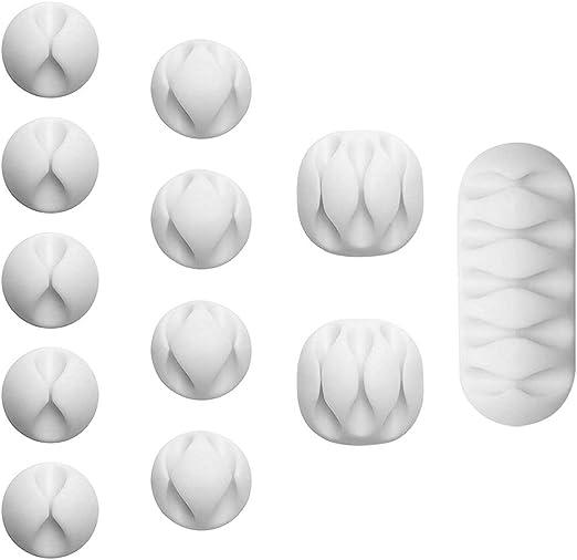 5pcs Black+5pcs White Self Adhesive Double Slot Cable Clip Organizer Management