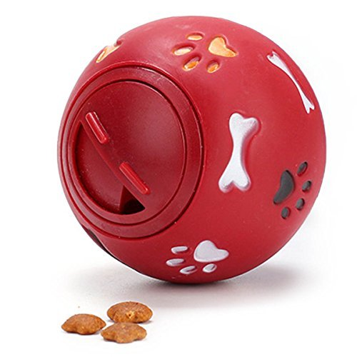 Vegxpet Pet Toy IQ Ball Interacative Puppy Treat Ball Food Dispensing Activity Bite Toy (Red L) ()
