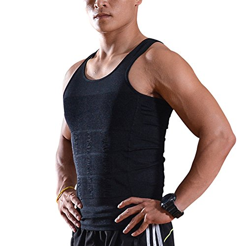 Slimming Body Shaper Vest, AGPtek® Elastic Lose Weight Exercising Tee Shirt Compression Tank Top Shapewear for Men