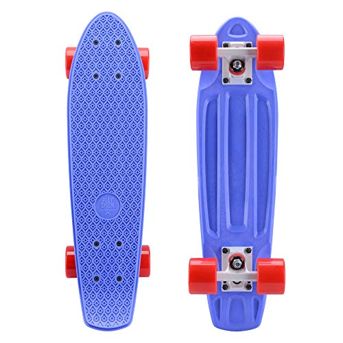 - Playshion Complete 22 Inch Mini Cruiser Skateboard for Beginner with Sturdy Deck Blue