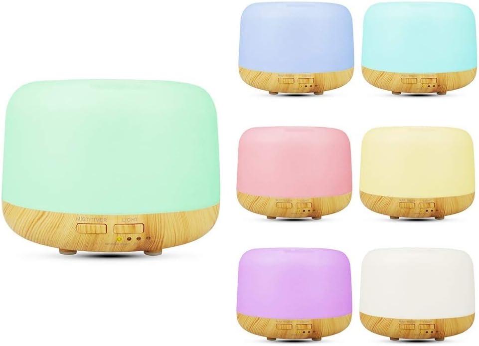 Humidificadores Aceites Esenciales 300 ml, Difusor Aceites Esenciales, Difusor de Aromaterapia Silencioso, 7 Luces LED de Color, para Yoga, Oficina, Spa, Dormitorio, Amarillo
