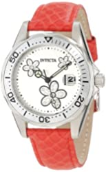 Invicta Women's 12513 Pro-Diver Silver Dial Crystal Accented Flowers Red Leather Watch