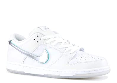 Amazon.com | SB Dunk Low Pro OG QS Diamond BV1310 100 White/Silver ...