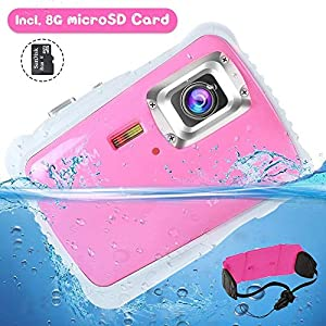"12MP Kids Underwater Digital Camera, Boys Girls Waterproof Action Camcorder, 2"" LCD Screen Children Birthday Learn Sports Cam w/ 8GB microSD Card and Floating Wrist Strap (Pink)"