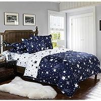 koongso funda de edredón juego de microfibra, color blanco y azul marino diseño de estrellas Prints de patrones de flores de nave espacial, sin edredón individual/tamaño de la Reina